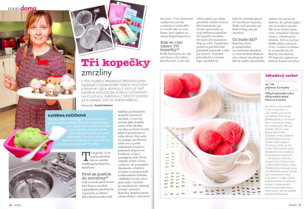 Tři kopečky v časopise FOOD